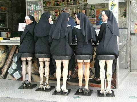 Nuns on sexy legs barstools joke