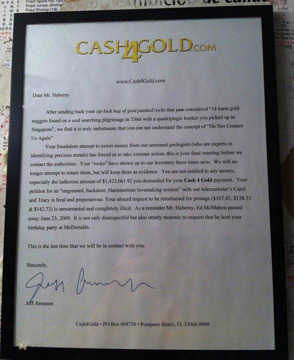 Cash4Gold letter